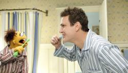 Jason Segel and his brother Walter in The Muppets.