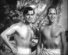 Clark Gable and Franchot Tone admire the tropical scenery.