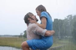 Ryan Gosling and Rachel McAdams in the most famous scene from The Notebook.