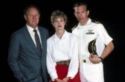 Gene Hackman, Sean Young and Kevin Costner in a publicity still for No Way Out.