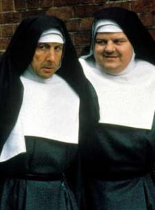 Eric Idle and Robbie Coltrane in Nuns on the Run.