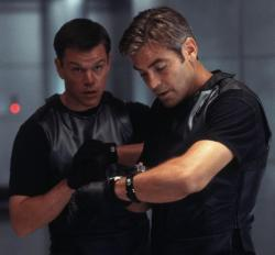 Matt Damon and George Clooney in Ocean's Eleven.