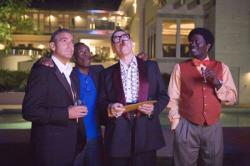 George Clooney, Don Cheadle, Elliott Gould, and Bernie Mac in Ocean's Thirteen.