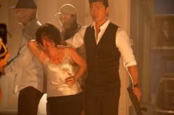 Melissa Leo and Rick Yune in Olympus Has Fallen.