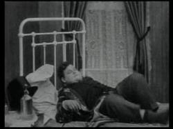 Oliver Hardy and his tortured bed in One Too Many