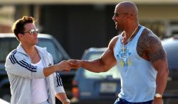 Mark Wahlberg and Dwayne Johnson in Pain and Gain.