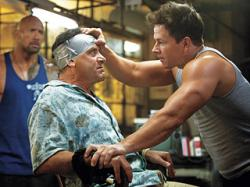 Dwayne Johnson, Tony Shalhoub and Mark Wahlberg in Pain & Gain