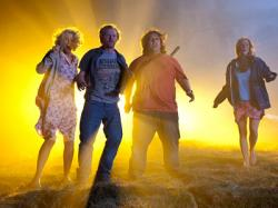 Blythe Danner, Simon Pegg, Nick Frost and Kristen Wiig in Paul.