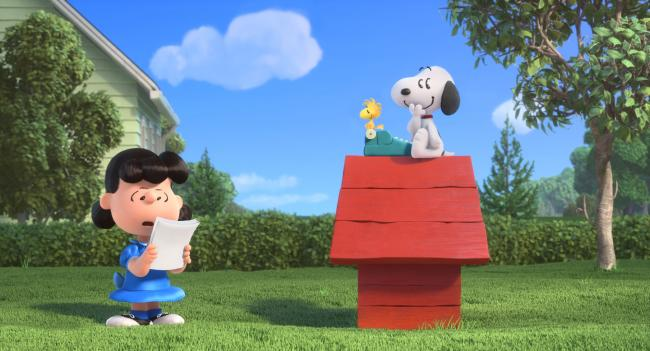 Lucy reads Snoopy's novel in The Peanuts Movie.