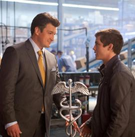 Nathan Fillion as Hermes and Logan Lerman as Percy Jackson in Percy Jackson: Sea of Monsters