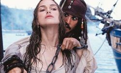 Keira Knightley and Johnny Depp in Pirates of the Caribbean: The Curse of the Black Pearl.