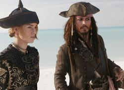 Keira Knightley and Johnny Depp in Pirates of the Caribbean: At World's End.