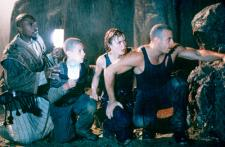 Keith David, Rhiana Griffith, Radha Mitchell and Vin Diesel in Pitch Black.