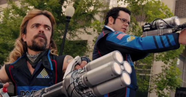Peter Dinklage and Josh Gad in Pixels