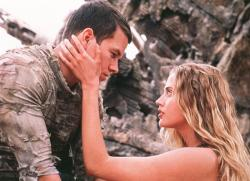 Mark Wahlberg and Estella Warren in Planet of the Apes.