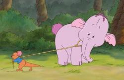 Roo catches a Heffalump in Pooh's Heffalump Movie.