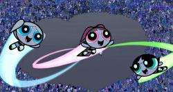 Bubbles, Blossom and Buttercup in The Powerpuff Girls Movie.