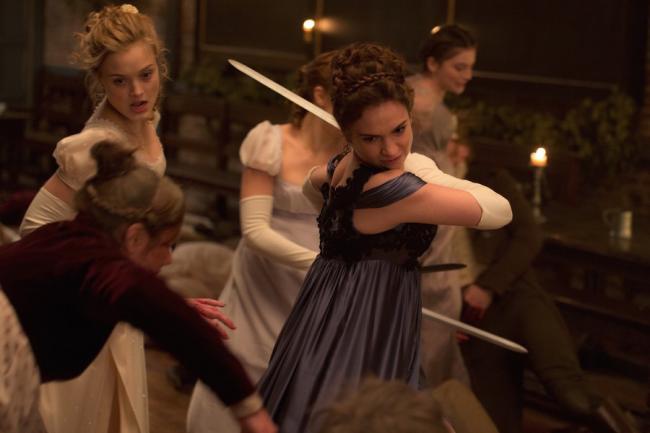 Bella Heathcote and Lily James in Pride and Prejudice and Zombies.