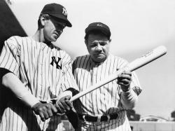 Gary Cooper and Babe Ruth in Pride of the Yankees.