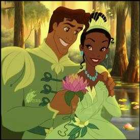 Prince Naveen and Tiana in The Princess and the Frog