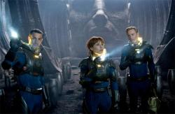 Logan Marshall-Green, Noomi Rapace and Michael Fassbender in Prometheus.