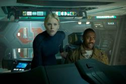 Charlize Theron and Idris Elba in Prometheus.