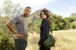 Dwayne Johnson and Carla Gugino in Race to Witch Mountain.