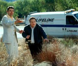 Rowan Atkinson and Wayne Knight in Rat Race.