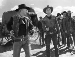 John Wayne and Montgomery Clift in Red River.