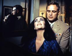 Elizabeth Taylor and Marlon Brando in Reflections in a Golden Eye.