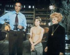 Christopher Lee, Ike Eisenmann and Bette Davis in Return from Witch Mountain.