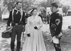 John Wayne, Maureen O'Hara, and Victor McLaglen in Rio Grande.