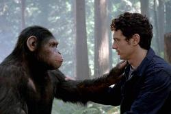 Andy Serkis and James Franco in Rise of the Planet of the Apes.
