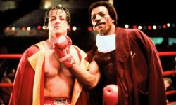 Sylvester Stallone and Carl Weathers in Rocky.