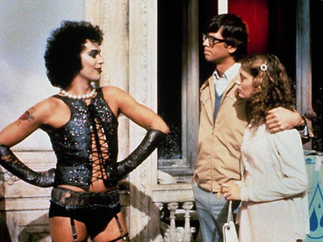Tim Curry, Barry Bostwick, and Susan Sarandon in The Rocky Horror Picture Show.