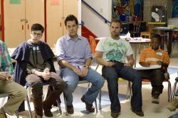 Christopher Mintz-Plasse, Paul Rudd, Seann William Scott and Bobbe J. Thompson in Role Models.