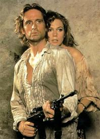 Michael Douglas and Kathleen Turner in Romancing the Stone.
