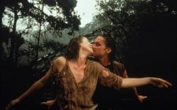 Kathleen Turner and Michael Douglas in Romancing the Stone.
