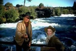 John Wayne and Katharine Hepburn in Rooster Cogburn.