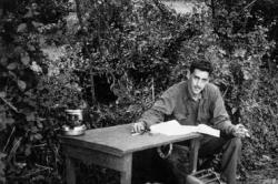 The only known photograph of J. D. Salinger writing The Catcher in the Rye in Salinger.