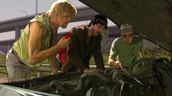 Woody Harrelson, Keanu Reeves, and Robert Downey Jr. animated in A Scanner Darkly.