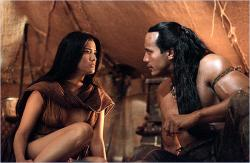 Dwayne Johnson and Kelly Hu in The Scorpion King.