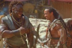 Michael Clarke Duncan and Dwayne Johnson in The Scorpion King.