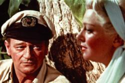John Wayne and Lana Turner in The Sea Chase.