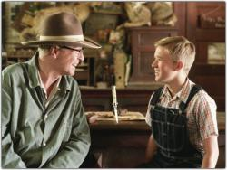 Michael Caine and Haley Joel Osment in Secondhand Lions.