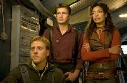 Alan Tudyk, Nathan Fillion and Gina Torres in Serenity.