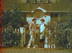 An early Technicolor glimpse of Buster Keaton and Ruth Dwyer in Seven Chances.