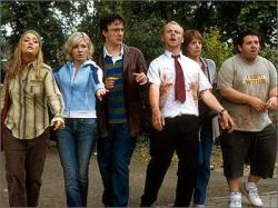Lucy Davis, Kate Ashfield, Dylan Moran, Simon Pegg Penelope Wilton and Nick Frost in Shaun of the Dead.