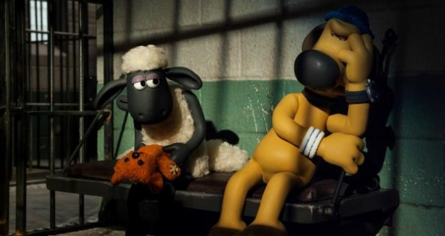 Shaun the Sheep with Blitzer the dog in Shaun the Sheep Movie.