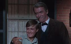 Phillip Alford and Jimmy Stewart in Shenandoah.